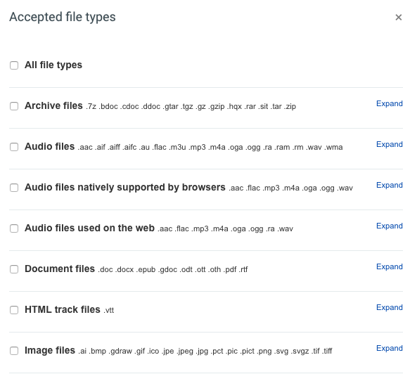 some accepted file type options