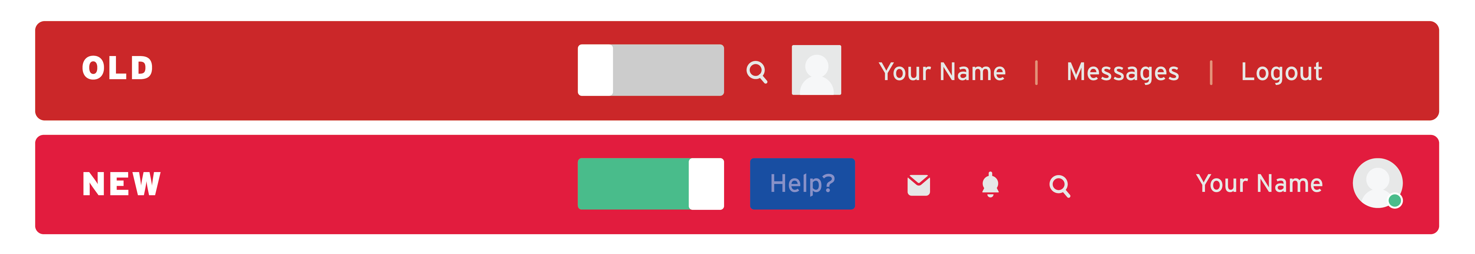 Two images showing a grey toogle for the old look and a green toggle for the new look