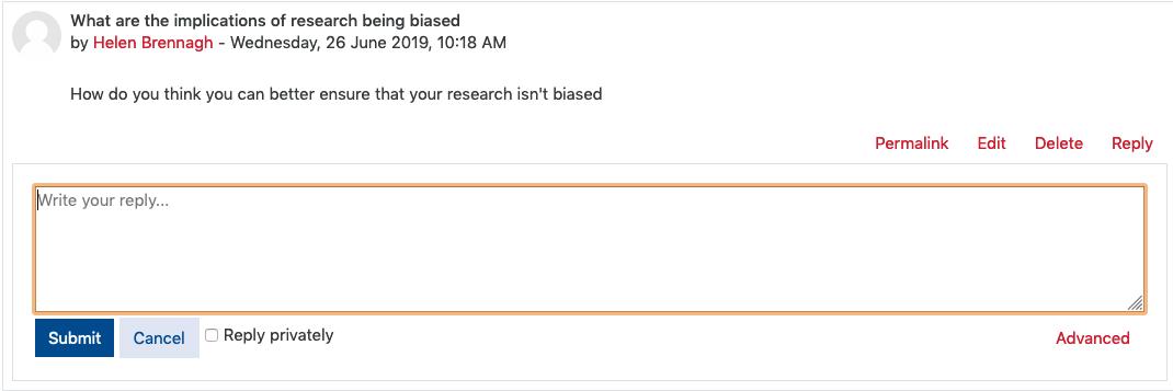 Screenshot showing reply inline