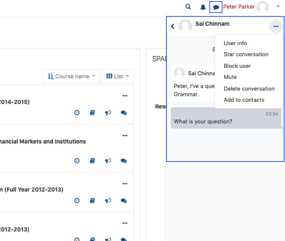 Screenshot of message window