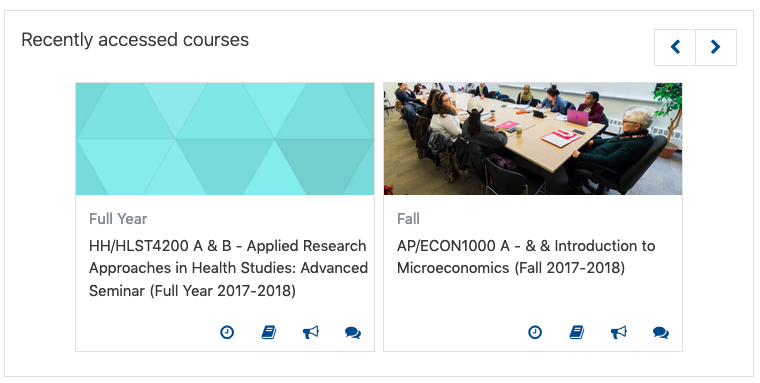 Screenshot of recently accessed courses block